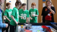 P7 pupils looking at lego robots