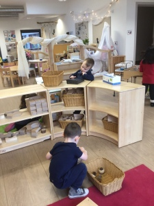 Interior of Wardie Nursery showing two children playing