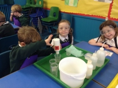 Pupils experimenting