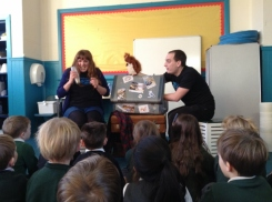 Generation Science staff acting out a story to pupils