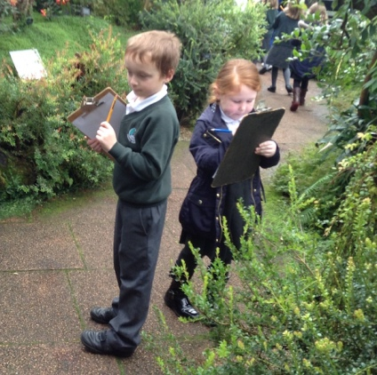 Children taking notes in hothouse