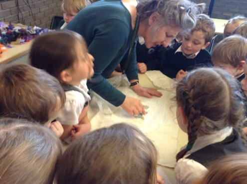 Pupils watching a demonstration of felt making