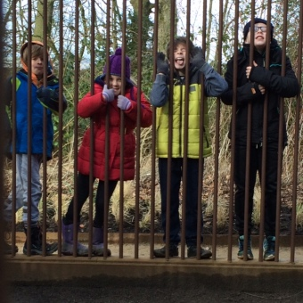Four pupils behind bars of a sculpture