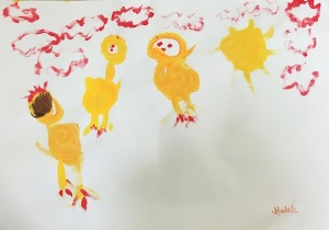 Painting of chicks by Malak