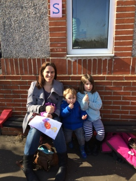 Mum and children enjoying the sun