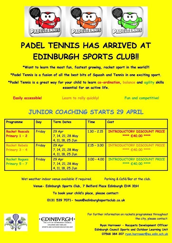 Junior Padel Tennis Coaching Flyer