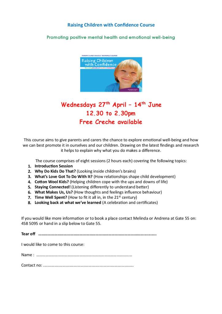 Raising Children With Confidence - course flyer