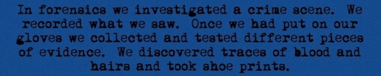 In forensics we investigated a crime scene. We recorded what we saw. Once we had put on our gloves we collected and tested different pieces of evidence. We discovered traces of blood and hairs and took shoe prints.