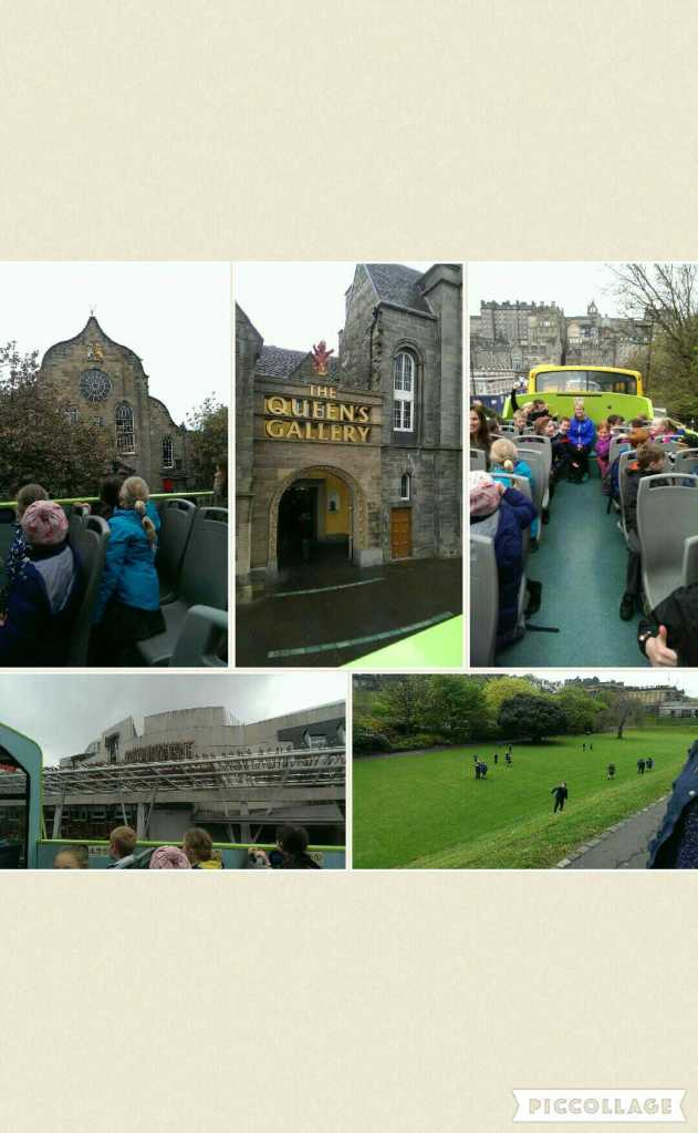 Collage of photos from open top bus tour