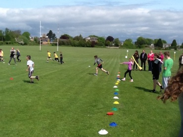 "Pupil throwing the ""javelin"""
