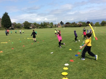 "Pupils throwing the ""javelin"""