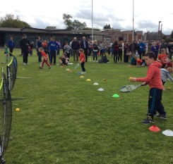Pupils taking part in tennis event