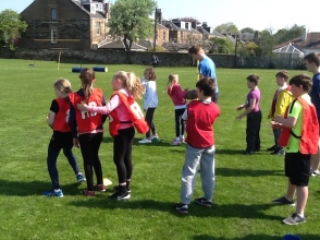 pupils lining up for relay races