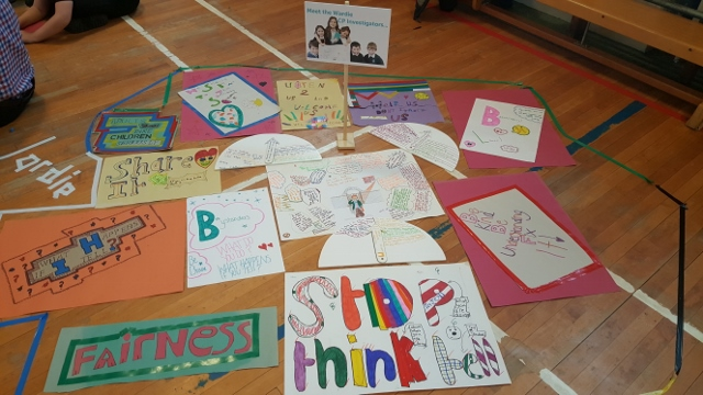 Photo showing the different posters that were created by the Wardie children.