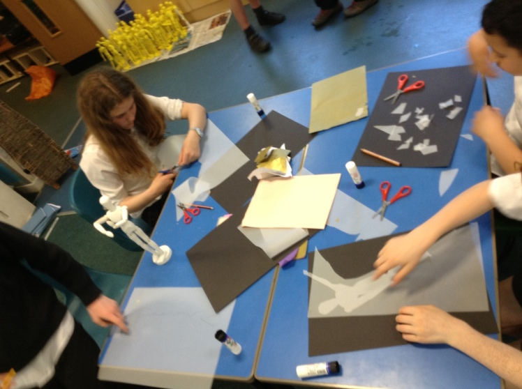Pupils starting work on the yellow figures.